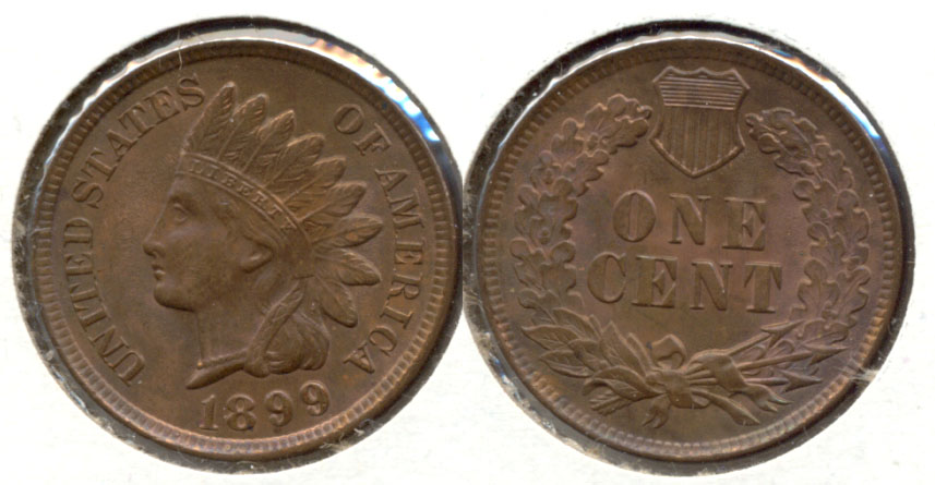 1899 Indian Head Cent MS-63 Brown