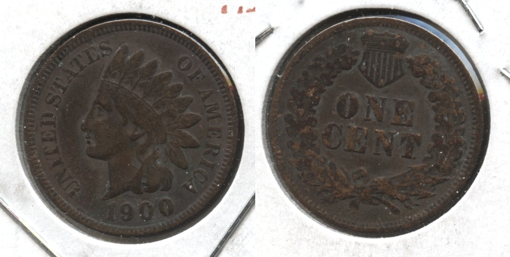 1900 Indian Head Cent Fine-12 #h Dark