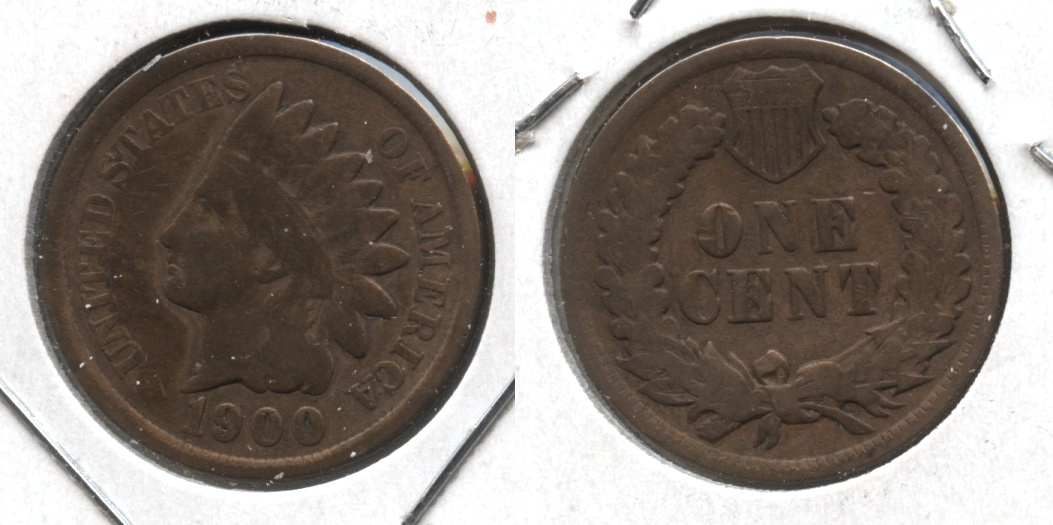 1900 Indian Head Cent Good-4 #m Cleaned