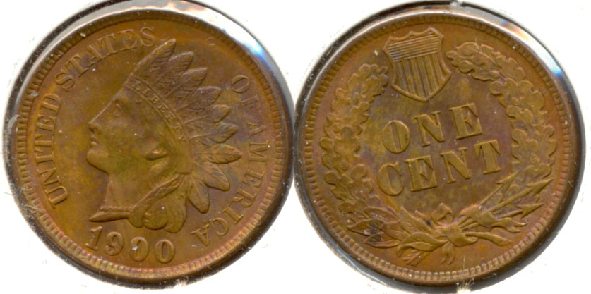 1900 Indian Head Cent MS-63 Red Brown