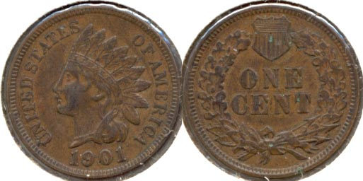 1901 Indian Head Cent AU-50 b