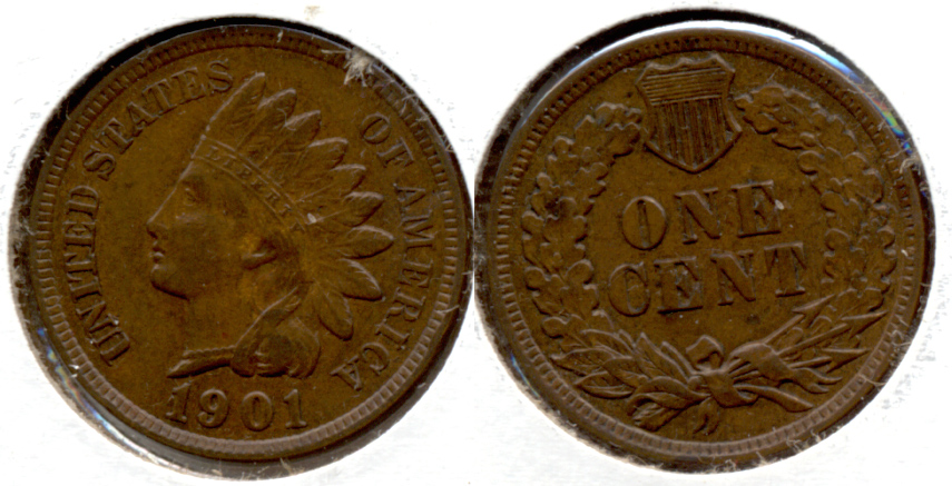 1901 Indian Head Cent EF-40 f
