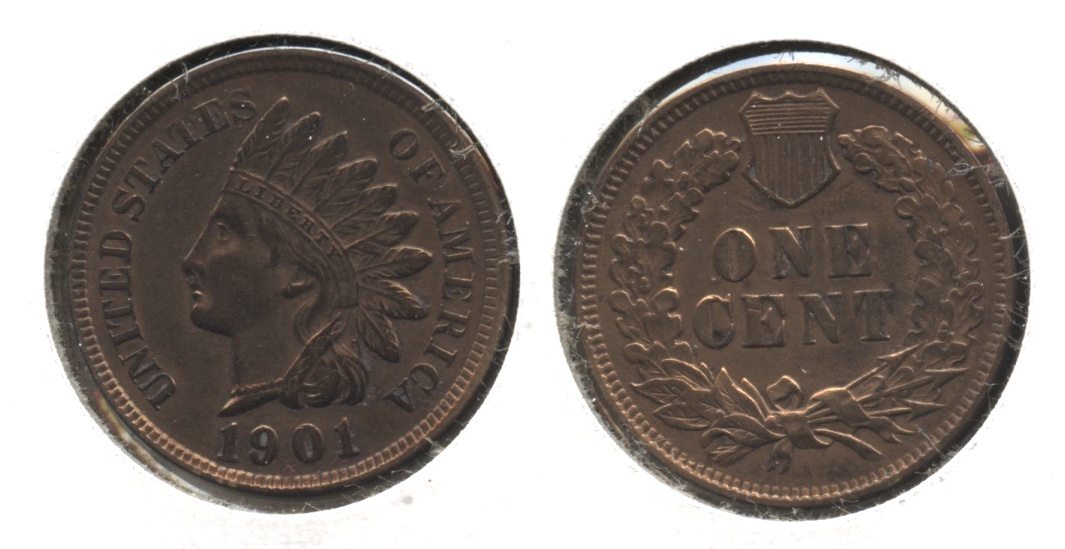 1901 Indian Head Cent EF-40 #l Cleaned