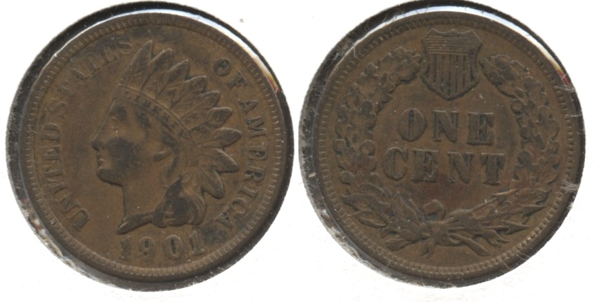 1901 Indian Head Cent Fine-12 #m