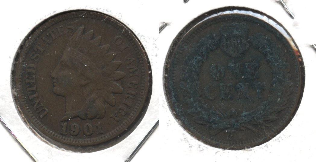 1901 Indian Head Cent Fine-12 #o Reverse Corrosion
