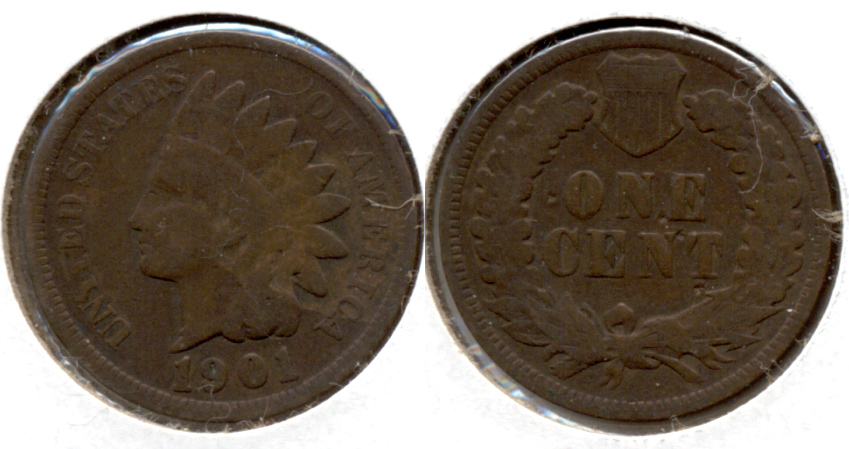 1901 Indian Head Cent Good-4 a