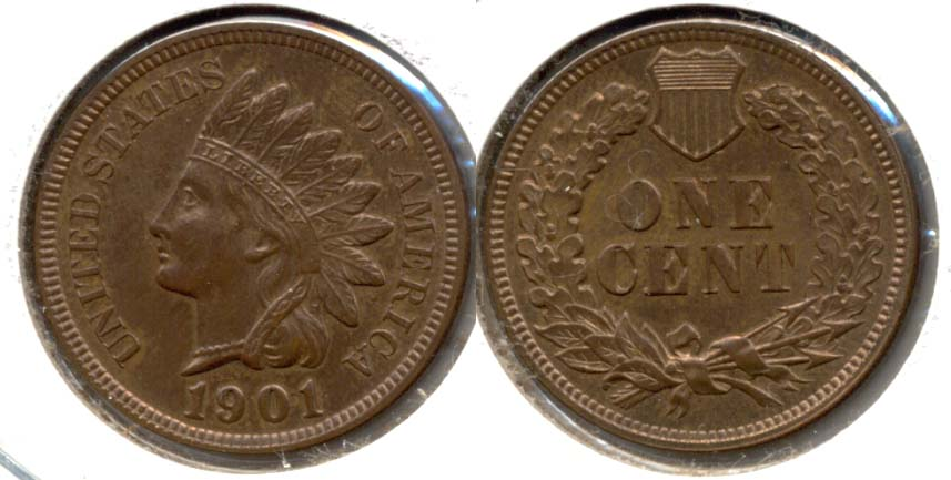 1901 Indian Head Cent MS-63 Red Brown a