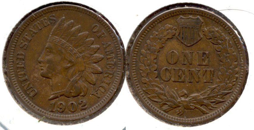 1902 Indian Head Cent AU-50 f