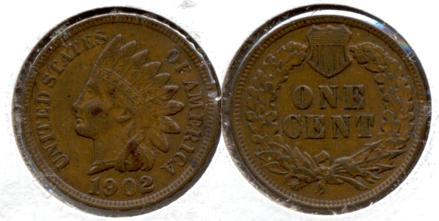1902 Indian Head Cent EF-40 h Edge Bump