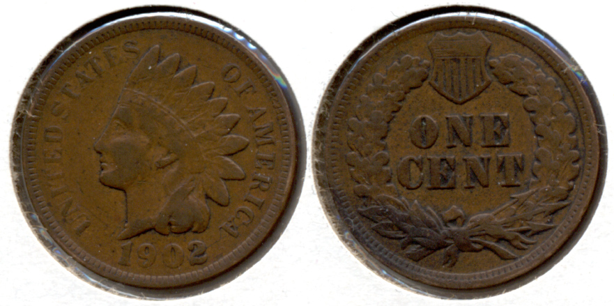 1902 Indian Head Cent Fine-12 f