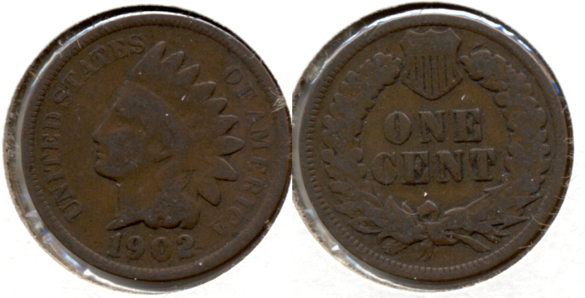 1902 Indian Head Cent Good-4 f