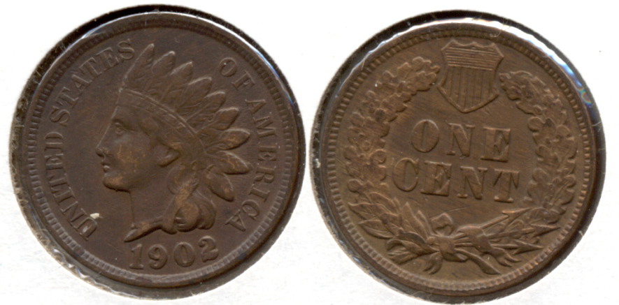 1902 Indian Head Cent VF-20 h Cleaned Retoned
