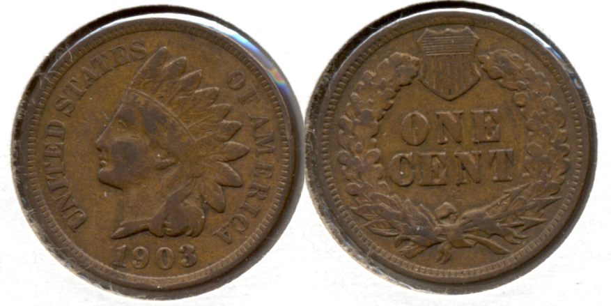 1903 Indian Head Cent Fine-12 i Cleaned Retoned