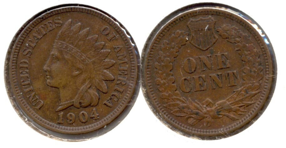 1904 Indian Head Cent AU-50 d
