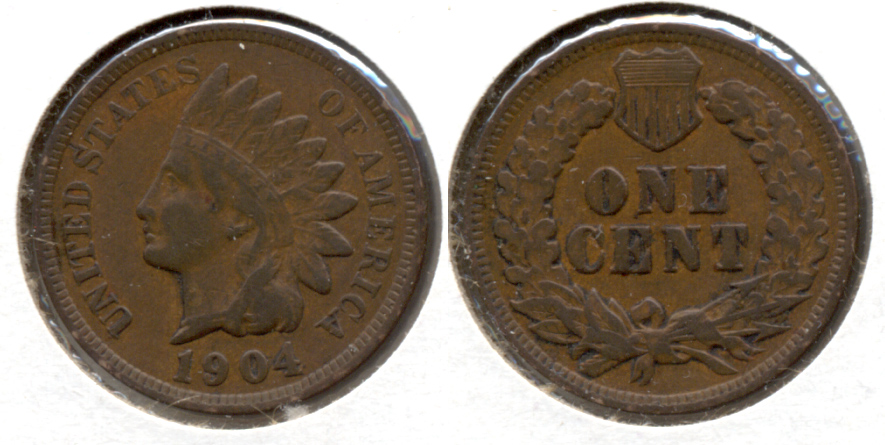 1904 Indian Head Cent Fine-12 n