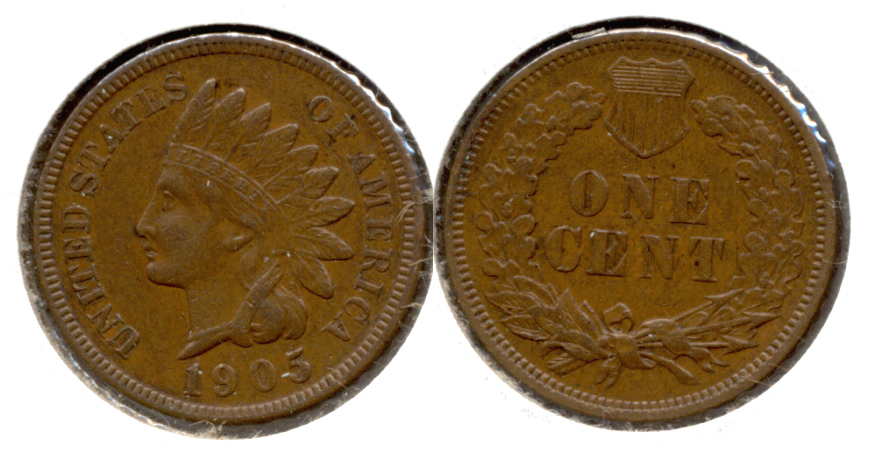 1905 Indian Head Cent AU-50 f