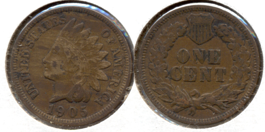 1905 Indian Head Cent Fine-12 Obverse Tic