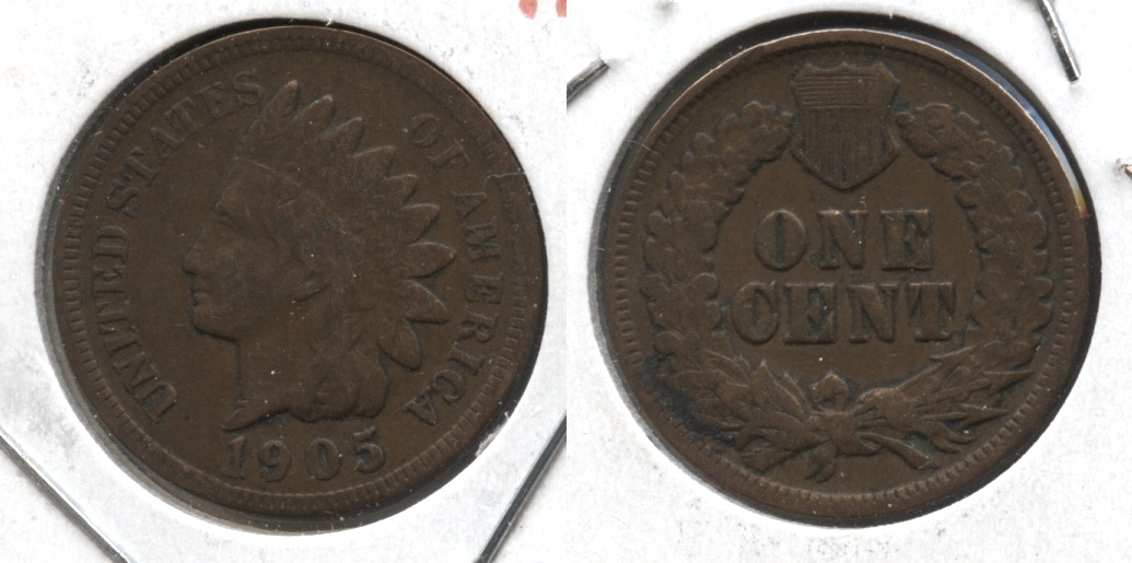 1905 Indian Head Cent Good-4 #m Cleaned Retoned