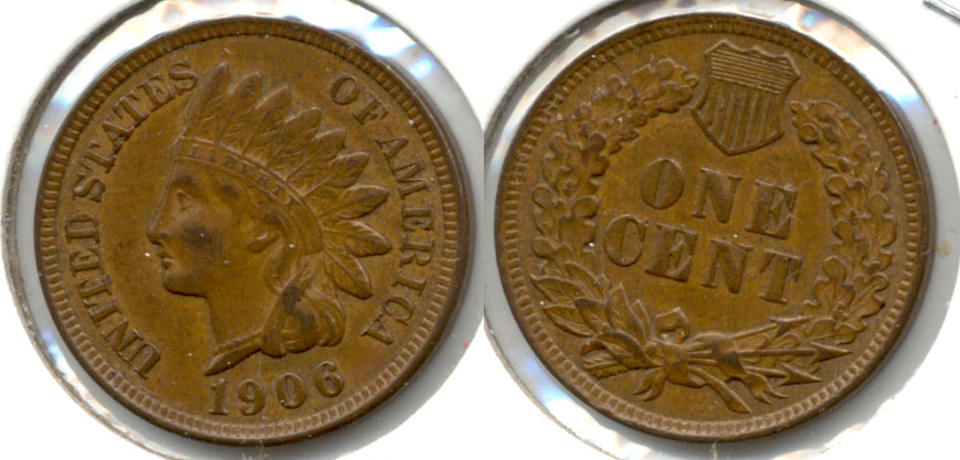 1906 Indian Head Cent AU-50 a