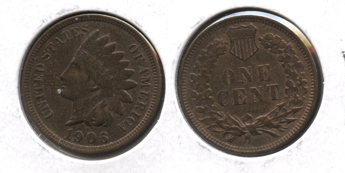 1906 Indian Head Cent AU-50 #ah Cleaned Retoned
