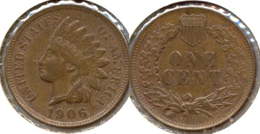 1906 Indian Head Cent AU-50 b