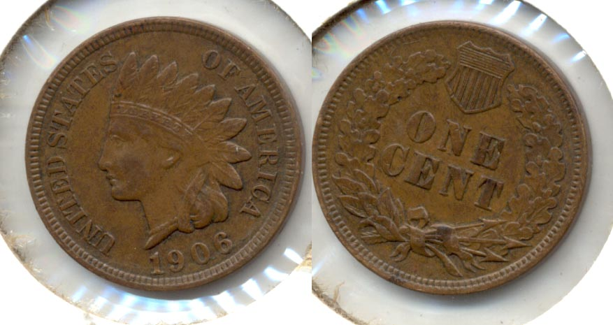 1906 Indian Head Cent AU-50 h