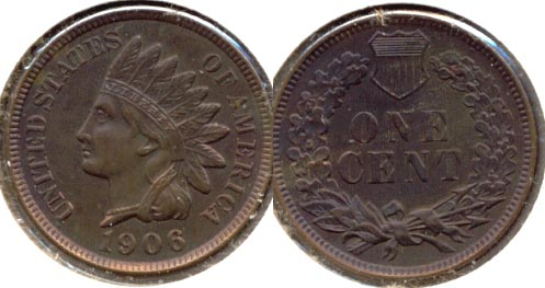 1906 Indian Head Cent AU-55 d
