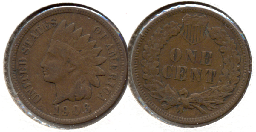 1906 Indian Head Cent Fine-12 e