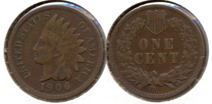 1906 Indian Head Cent Fine-12 f