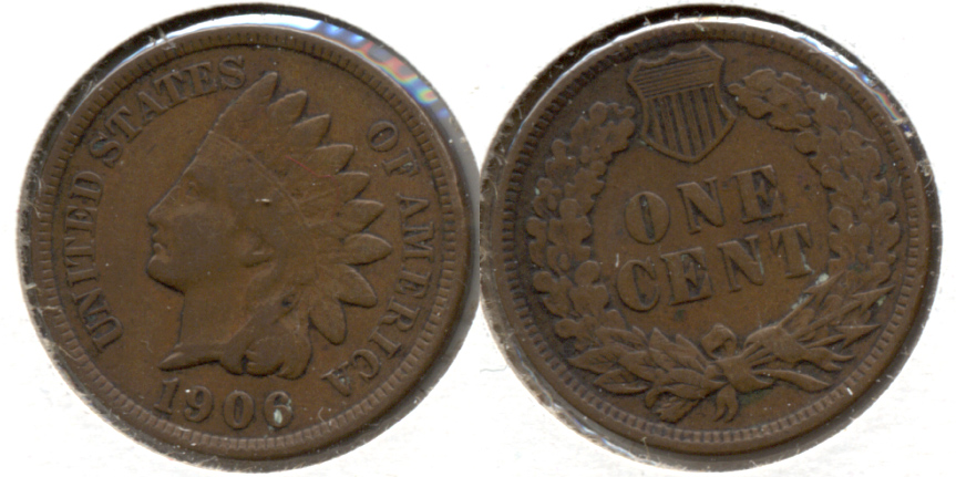 1906 Indian Head Cent Fine-12 h