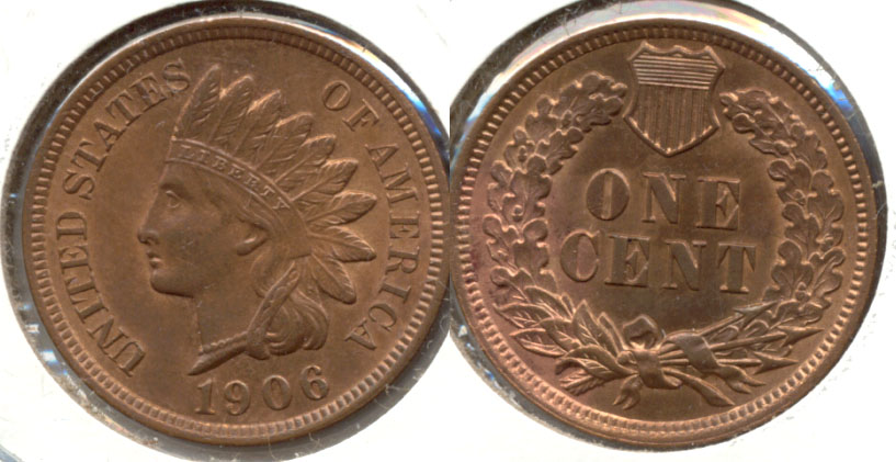 1906 Indian Head Cent MS-63 Red Brown