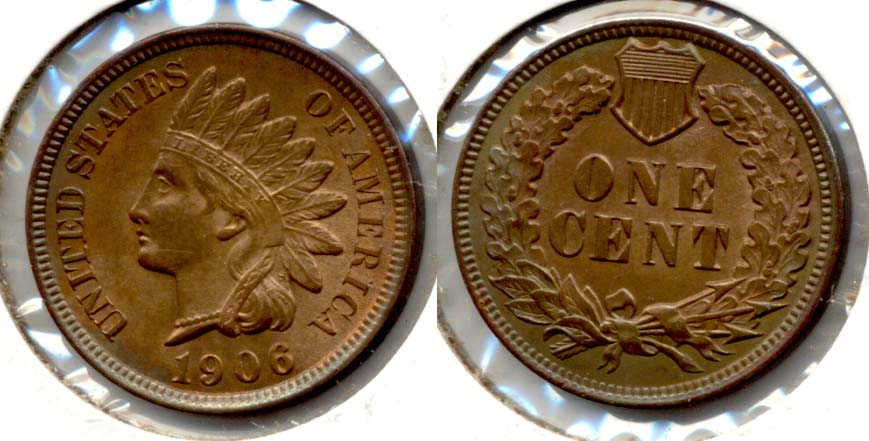 1906 Indian Head Cent MS-63 Red Brown b