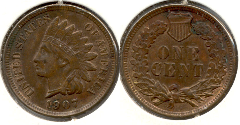 1907 Indian Head Cent AU-50 c