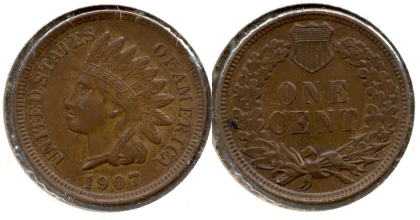 1907 Indian Head Cent AU-50 f Reverse Scratch