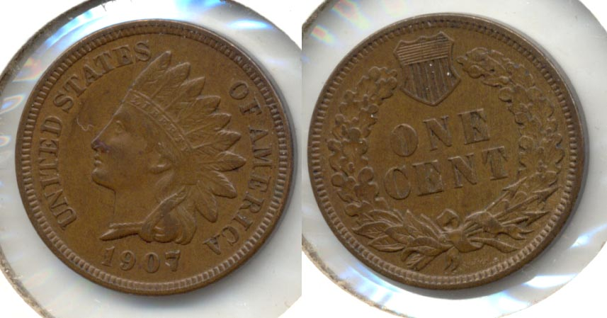 1907 Indian Head Cent AU-50 #k