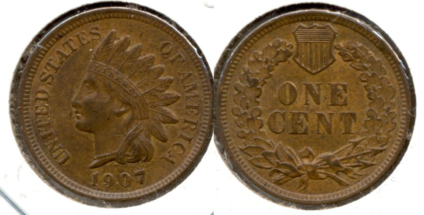 1907 Indian Head Cent AU-55 a
