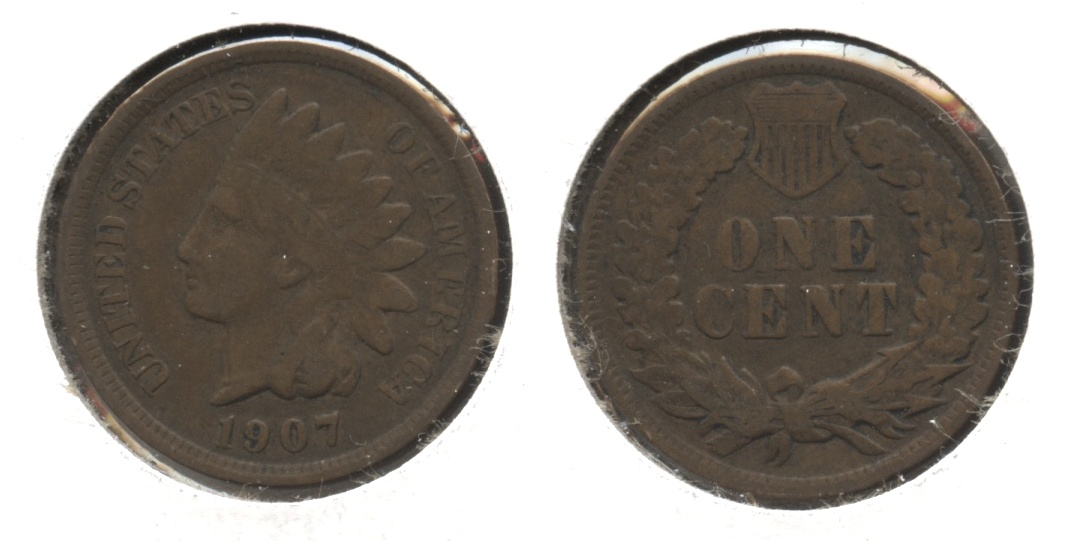 1907 Indian Head Cent Fine-12 #aa