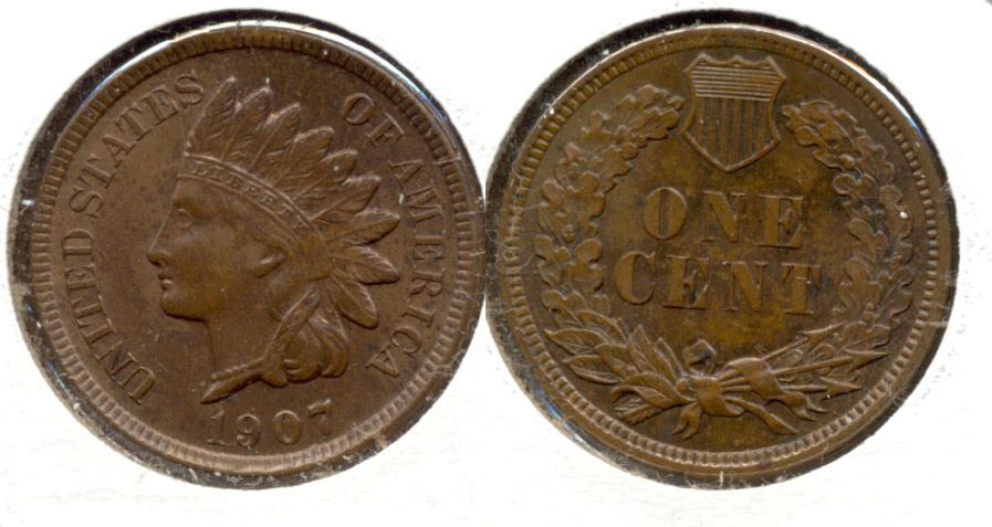 1907 Indian Head Cent MS-60 Brown b