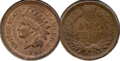 1907 Indian Head Cent MS-63 Brown a