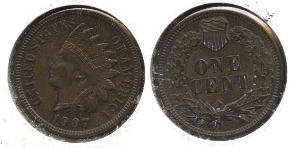 1907 Indian Head Cent MS-64 Brown #a