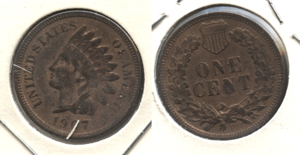 1907 Indian Head Cent VF-20 #cj Cleaned