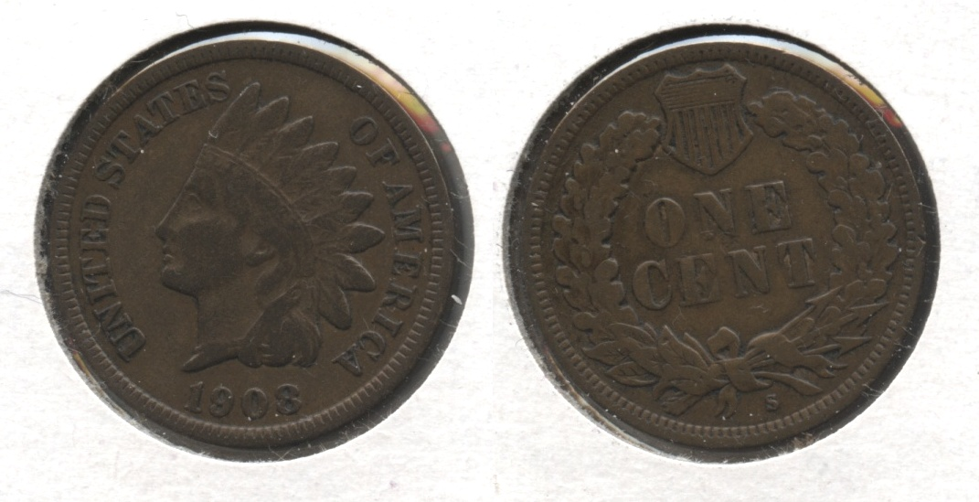 1908-S Indian Head Cent Fine-12 #a