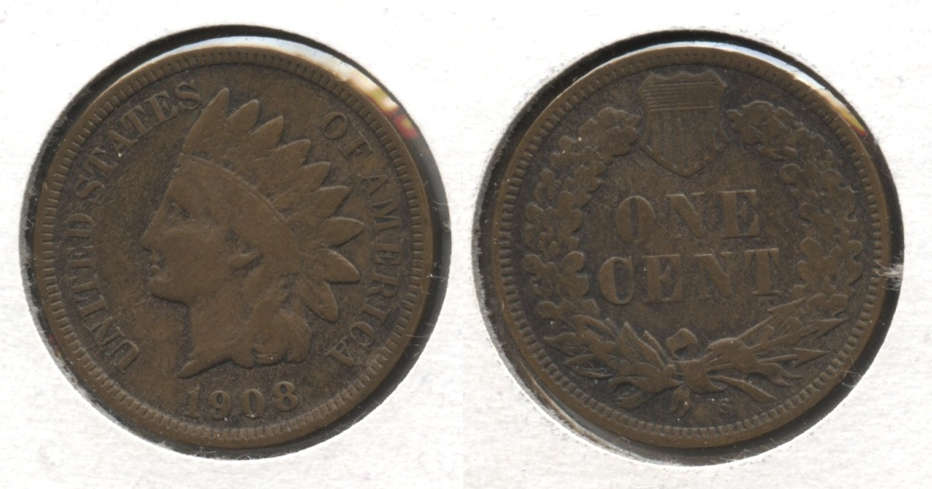 1908-S Indian Head Cent Fine-12 #c
