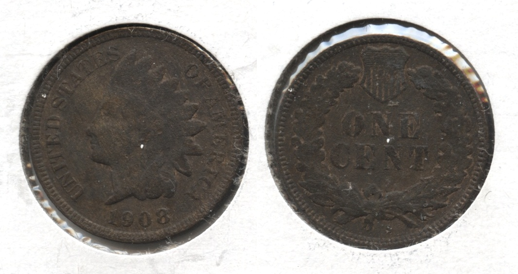 1908-S Indian Head Cent Good-4 #c Bit Rough