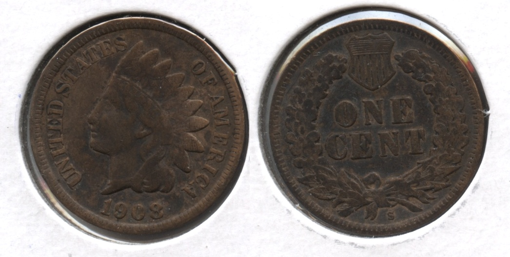 1908-S Indian Head Cent VF-20 #f Cleaned Retoned