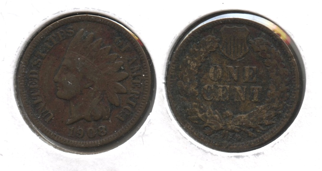 1908-S Indian Head Cent VF-20 #k Porous Reverse