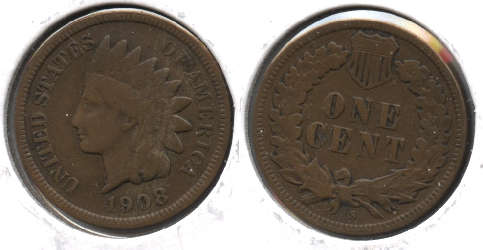 1908-S Indian Head Cent VG-10