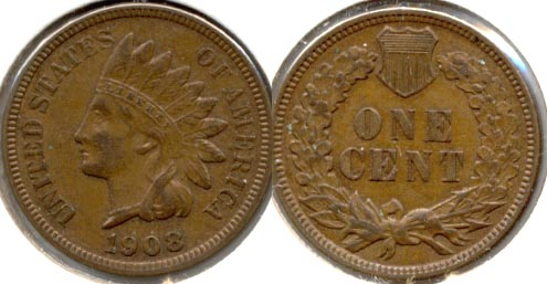 1908 Indian Head Cent AU-50 a