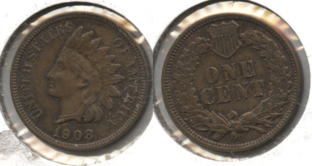 1908 Indian Head Cent AU-55 #d