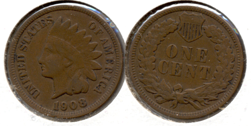 1908 Indian Head Cent Fine-12 b